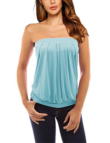 SunnyLady Women Pleated Tube Top Strapless Tunic Shirt Light Blue M (Top Tube Summer)
