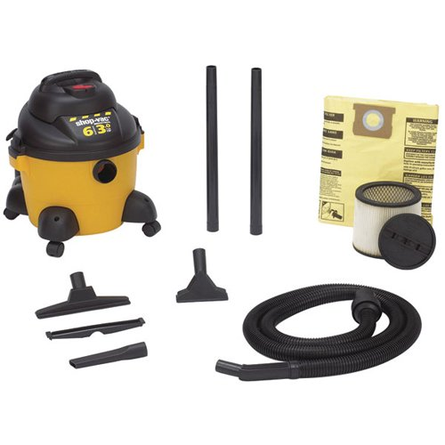 Shop-Vac 9650610 3.0-Peak Horsepower Right Stuff Wet/Dry Vacuum 6-Gallon with Tool Storage & Accessories, Uses Type X Cartridge Filter & Type H Filter Bag & Type R Foam Sleeve by Shop-Vac