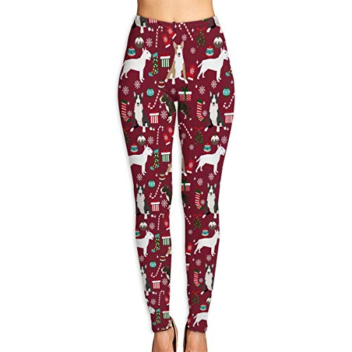 (Yoga Pants Bull Terrier Candy Canes Winter Snowflakes Dog Fitness Power Flex Yoga Pants Leggings)