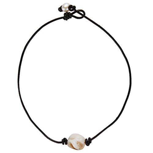 (Barch One Single Genuine White Abalone Shell Choker Necklace with Black Leather Cord for Women (14 Inch))