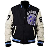 Hills Cop Axel Foley Beverly Cotton Fleece Detroit Lions Vintage Sports 90210 Letterman Jacket Red and Blue (XXS)