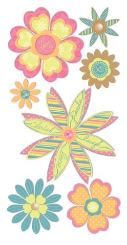 Dimensional Stickers Heart Flowers - 2.75