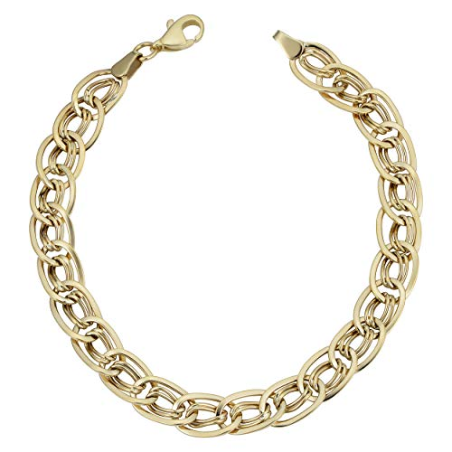Kooljewelry 10k Yellow Gold Triple Oval Link Bracelet (7.5 ()
