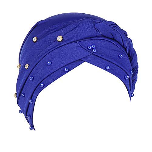 Sunshinehomely Women Elastic Hijab Cancer Hat Chemo Turban Wrap Cap Hair Loss Head Scarf (Braid Blue)