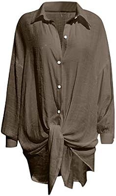 PowerFul-LOT - Camisa de Fluido para Mujer, Elegante, con Cuello en V, Mangas cálidas, Hombre, Marron&2, XXL: Amazon.es: Deportes y aire libre