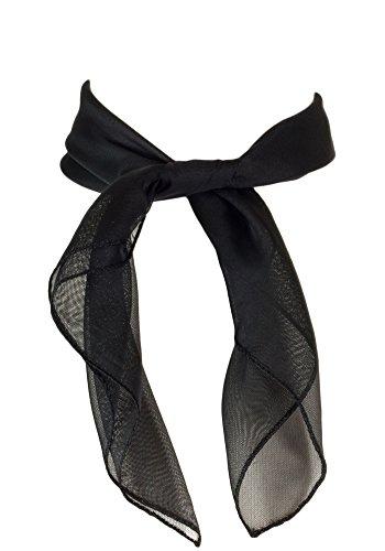 Sidecca Classic Chiffon Square Scarf-Black - Hair Ribbon
