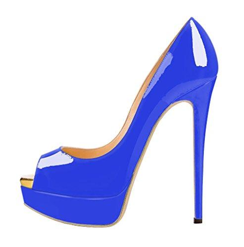 uBeauty Womens High Heels Peep Toe Court Shoes with Platform Blue