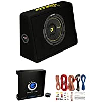 Kicker 44TCWC102 10 600W 2-Ohm Thin Car Subwoofer + Box + 1500W Amp + Amp Kit