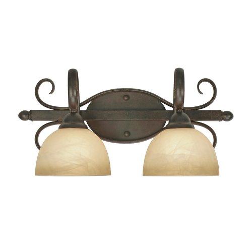 Golden Lighting 1567-BA2 PC Riverton Two Light Vanity, Peppercorn Finish
