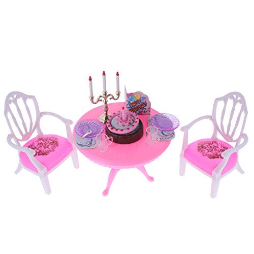 Dovewill Luxury Plastic Furniture Play Set for 1:6 Barbie Dolls House Birthday Party Time by Dovewill