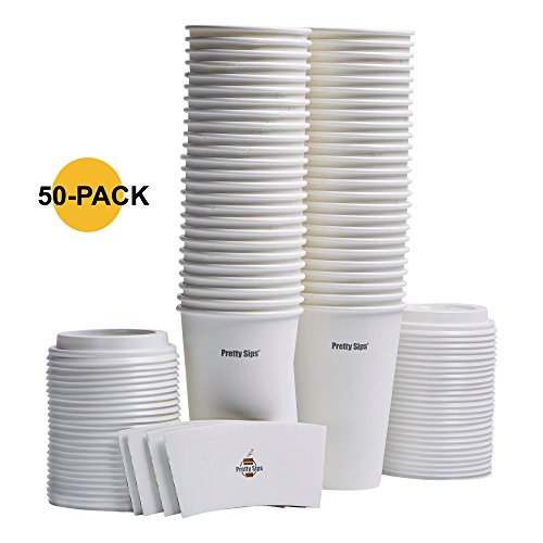 50 Pretty Sips Eco-friendly White Paper Hot Cups with Cappuccino Lids and Cup Sleeves, 16 oz. (50)
