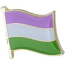 Genderqueer Flag Lapel Pin 16mm x 9.5mm Gay Lesbian Pride LGBT Hat Tie Tack Badge Pin