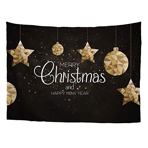 FOR U DESIGNS Wall Hanging for Xmas Cute Merry Christmas and Happy New Year Printed Home Tapestries Stars S ()