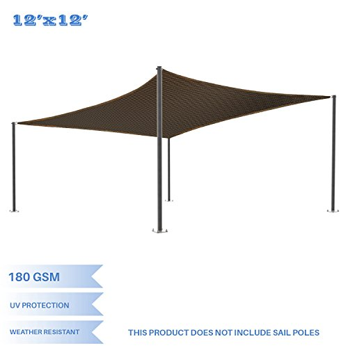 - E&K Sunrise 12' x 12' Brown Sun Shade Sail Square Canopy - Permeable UV Block Fabric Durable Patio Outdoor Set of 1