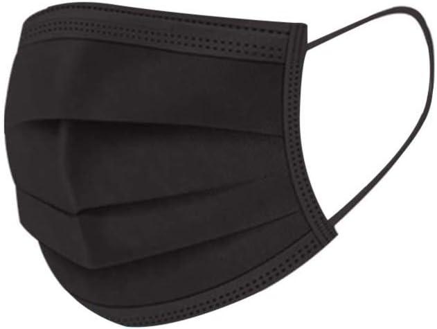 MMMYANG 100 piezas Adulto Negro Seguro Suave Transpirable Protección personal diaria, Protección 3 Capas Transpirables A Prueba de Polvo con Elástico para Los Oídos