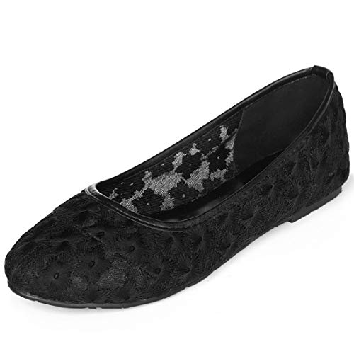 Product image of Allegra K Women's Rounded Toe Floral Lace Flats
