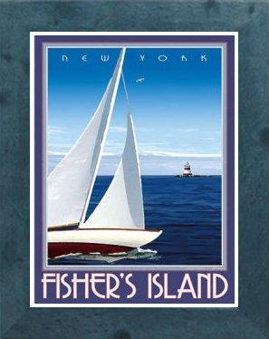 Amazon com : Fisher Island NY-Framed, Art-Deco Style Vintage