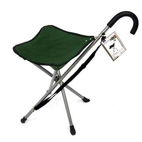 Charmant Folding Cane Chair   Walking Stick With Stool