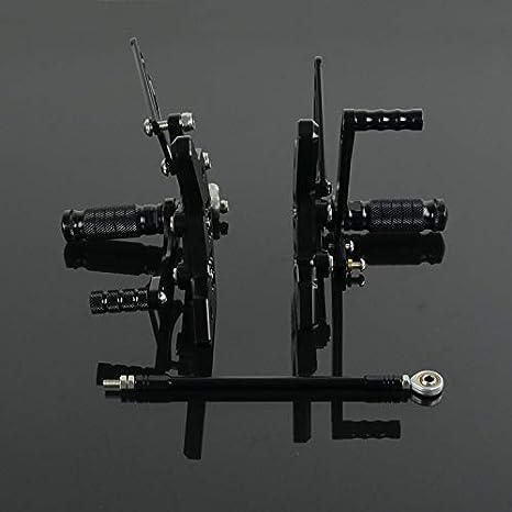 Noir Pour Kawasaki Ninja ZX6R ZX 6R 6 R 2003-2004 Repose-pieds arri/ère CNC pour moto Repose-pieds r/églables
