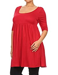 Plus Women's 3/4 Sleeve Empire Waist Baby Doll Dress Made In USA