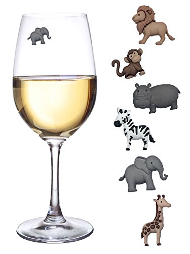 Animal Wine Charms Set of 6 Safari Themed Magnetic Wine Glass Drink Markers (Glass Zebra Wine)