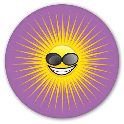 (Carframes18 Sun Sunglasses on Purple Vinyl Sticker Bumper Sticker Decal)