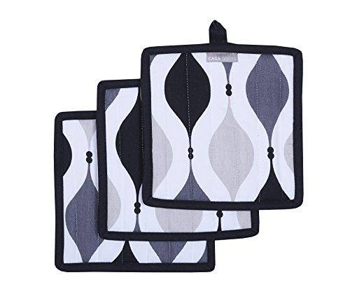 - CASA DECORS Pot Holders, Unique Black & Gray Geometric Design, Pot Holders Heat Resistant, Made of 100% Cotton, Eco-Friendly & Safe, Set of 3, Pot Holder Size 8 x 8 inches, Pot Holders for Kitchen