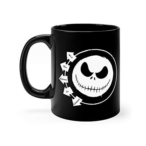 Halloween on Christmas Mug Funny Coffee Mug Father's Day, Birthday Gifts For Mom, Dad, Grandpa, Husband From Son, Daughter. Fun Novelty Tea Cups Ceramic 11oz ()