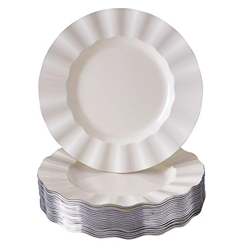 (DISPOSABLE SALAD PLATES | 20 pc | Heavy Duty Plastic Dishes | Elegant Fine China Look | Veil - Ivory (8.75