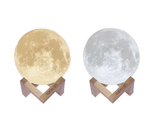 KUNGKEN Rechargeable 3D Printing Moon Lamp Touch Switch Luna Night Light Color And Brightness Adjustable With Wooden Mount 5.9IN by KUNGKEN