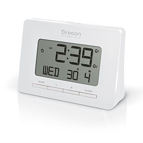 (Oregon Scientific RM938 White Alarm Atomic Clock for Office Home College Dorm Desk)