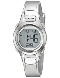 Armitron Sport Women's 45/7012SIL Digital Chronograph Silver-Tone Resin Strap Watch