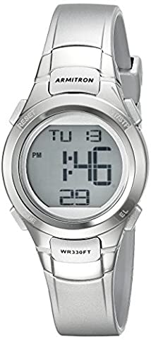 Armitron Sport Women's 45/7012SIL Digital Chronograph Silver-Tone Resin Strap Watch (Armitron Sports 50)