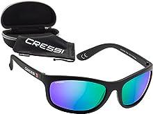 Cressi Rocker Gafas de Sol, Unisex Adulto, Negro/Lentes Reflejado Verde, Talla Única