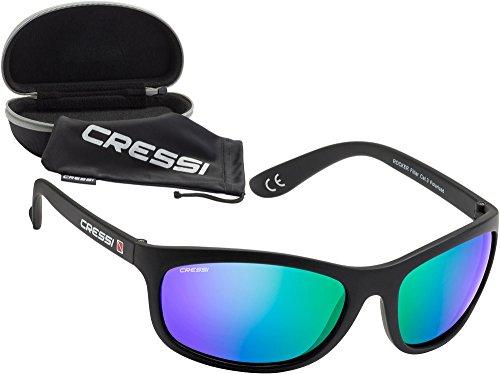 Cressi Rocker - Lunettes de Soleil Polarisées pour Homme - 100% Anti-UV avec étui Rigide - Noir/Lentilles Mirroir Rouge 1QF48kHs