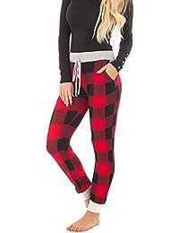 Womens Burgundy Plaid Pajama Jogger Pant With Heather Grey Contrast