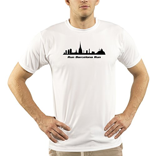Trail Runner Tech Tee - Split Time Men's Barcelona UPF Short Sleeve Running T-Shirt Small White
