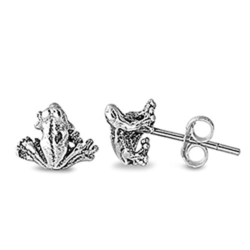 Animal Sitting Toad Detailed Frog .925 Sterling Silver Cute Tiny Stud Earrings