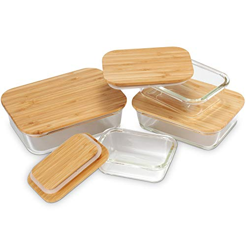 Nummyware Plastic-free Glass Food Containers with Sustainable Bamboo Tops (Set of 4)