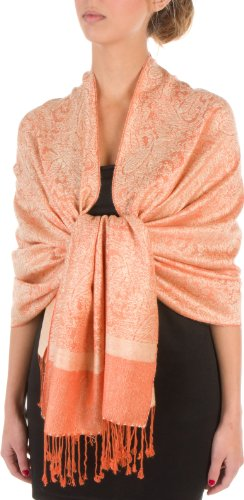 Sakkas Paisley Self-Design Shawl/Wrap/Stole - Champagne/Orange paisley