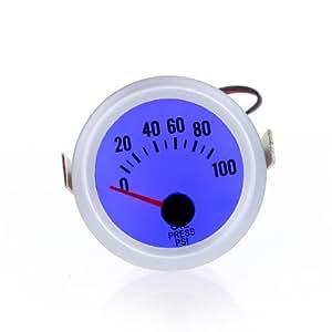 """KKmoon Calibrador Medidor de Presión de Aceite con Sensor para Coche Auto 2"""" 52mm 0 ~ 100PSI Luz LED Azul"""