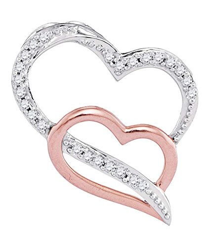 2 Tone Diamond Heart Pendant (10kt Two-tone Gold Womens Round Diamond Double Heart Pendant 1/12 Cttw (I2-I3 clarity; I-J color))
