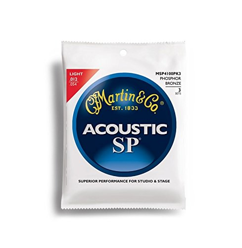 Martin MSP4100 SP Phosphor Bronze Acoustic Guitar Strings, Light 3 Pack