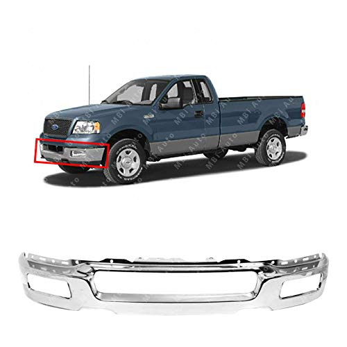 MBI AUTO - Chrome, Front Bumper Face Bar for 2004 2005 2006 Ford F150 w/Square Fog Light Holes 04 05 06, FO1002390