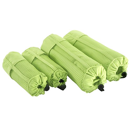 Deconovo Duschtuch 4er set Handtuch Mikrofaser Sporttuch Duschtuch Kinder Familien-Packung 180x90 cm und 100x50 cm Grün