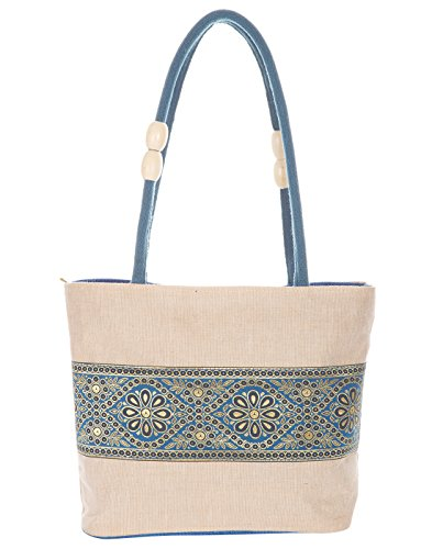 Jute Cottage Women #39;s Shoulder Bag  D 016 Blue_Blue
