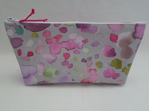 Handmade Oilcloth Set of 2 Make Up Bags Voyage Raspberry Sprinkles Fabric
