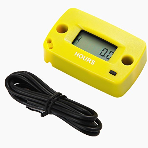 Searon Resettable Engine Hour Meter for All Gasoline Engine Motocross Marine Motorcycle Snowmobil ATV Lawn Mower Generator Yellow