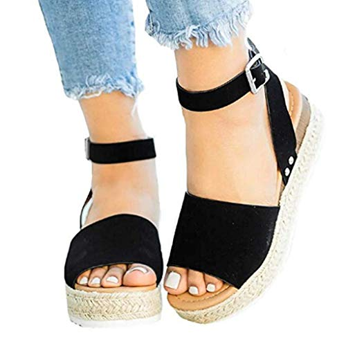 POHOK Hemp Thick with Women Sandals Casual Women's Rubber Sole Studded Wedge Buckle Ankle Strap Open Toe Sandals(41,Black) from POHOK