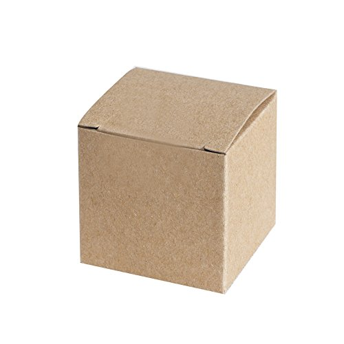 Ling's moment Kraft Gift Favor Boxes 2x2x2 Inch, Pack of 100, Brown Square Cardboard Jewelry Boxes for Wedding Party, Crafting, Cupcake (Brown Cake Favor Boxes)